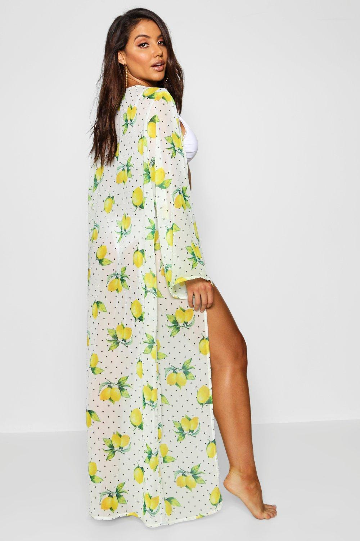 dd7e8364ac09c Boohoo - Multicolor Lemon Print Maxi Beach Kimono - Lyst. View fullscreen