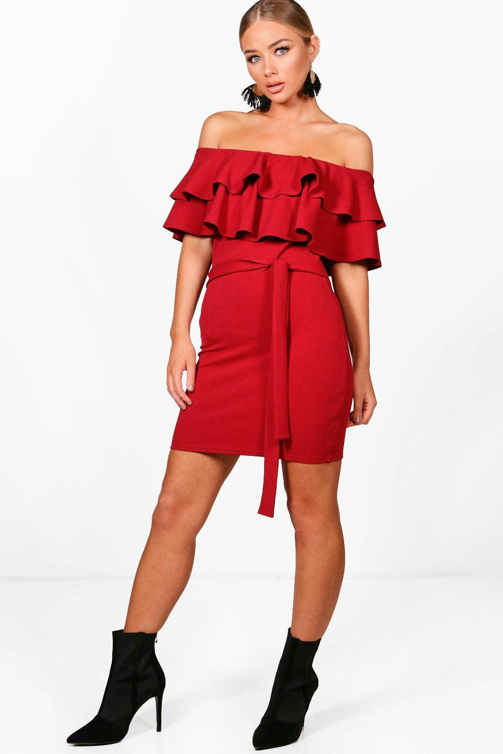 Boohoo Bardot Layered Frill Belted Bodycon Dress Professional For Sale Cheap Low Price Fee Shipping bQu00