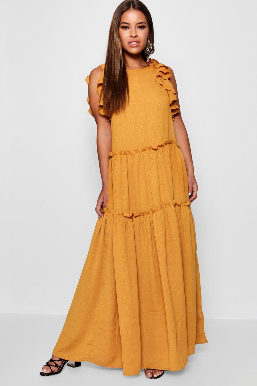 7252bdcffb Lyst - Boohoo Petite Tiered Ruffle Shoulder Maxi Dress in Orange