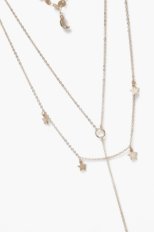 Boohoo Cosmic Choker & Bar Layered Necklace in Gold (Metallic)
