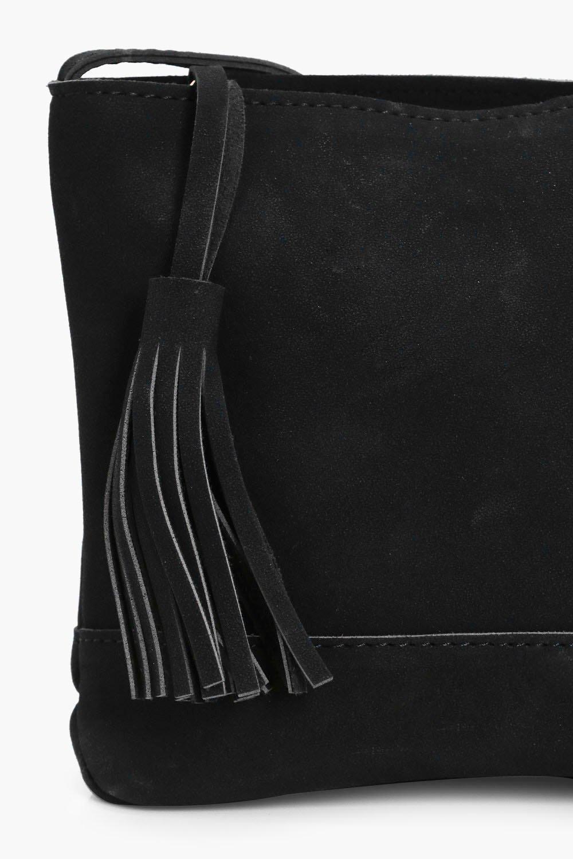 Boohoo Amy Tassel Cross Body Bag in Black