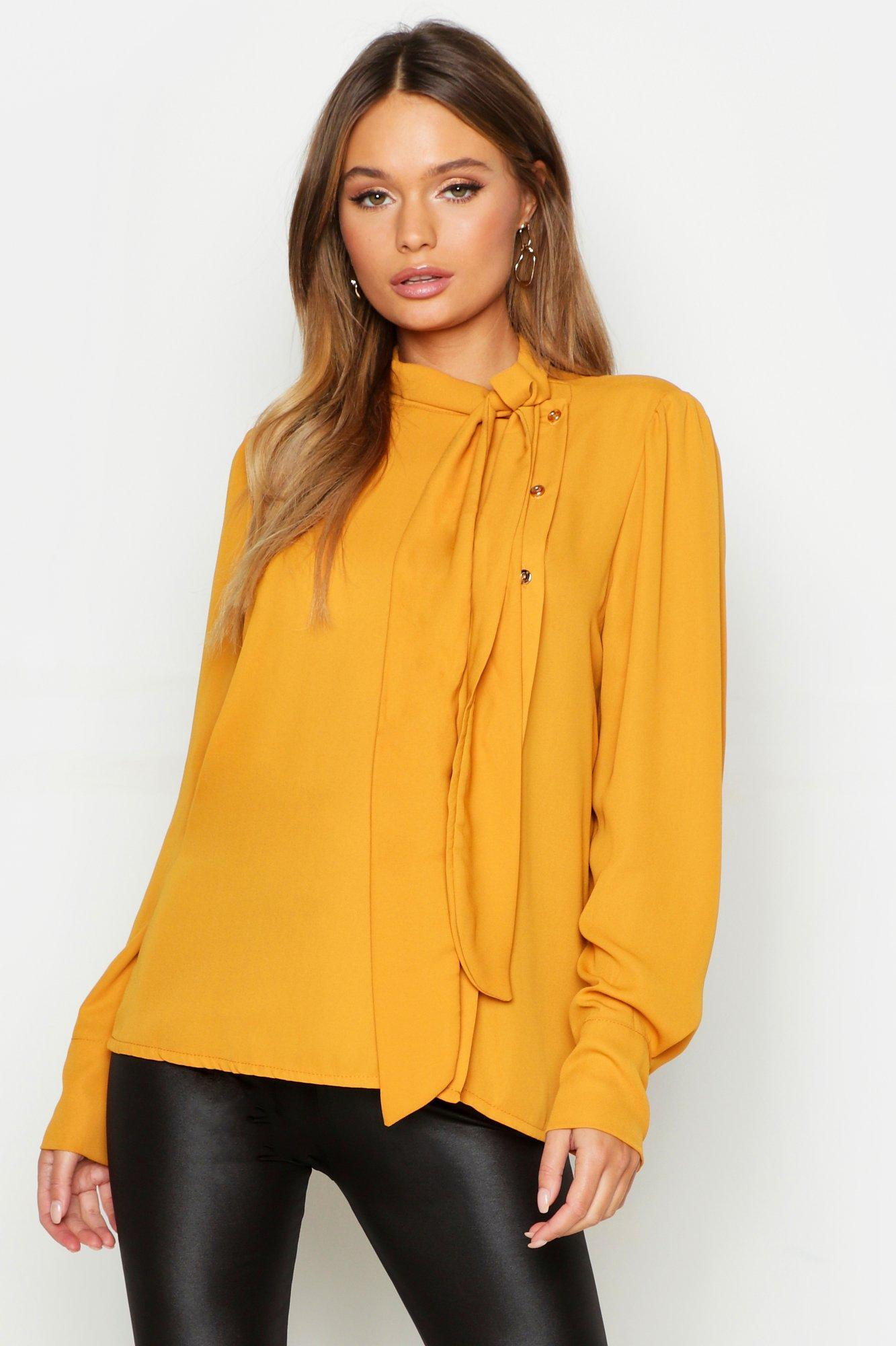 08818f9a698f1 Boohoo Woven Tie Neck Button Detail Blouse in Yellow - Lyst