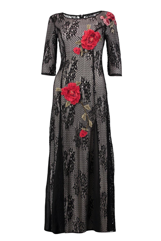 Boutique Applique Dress Black