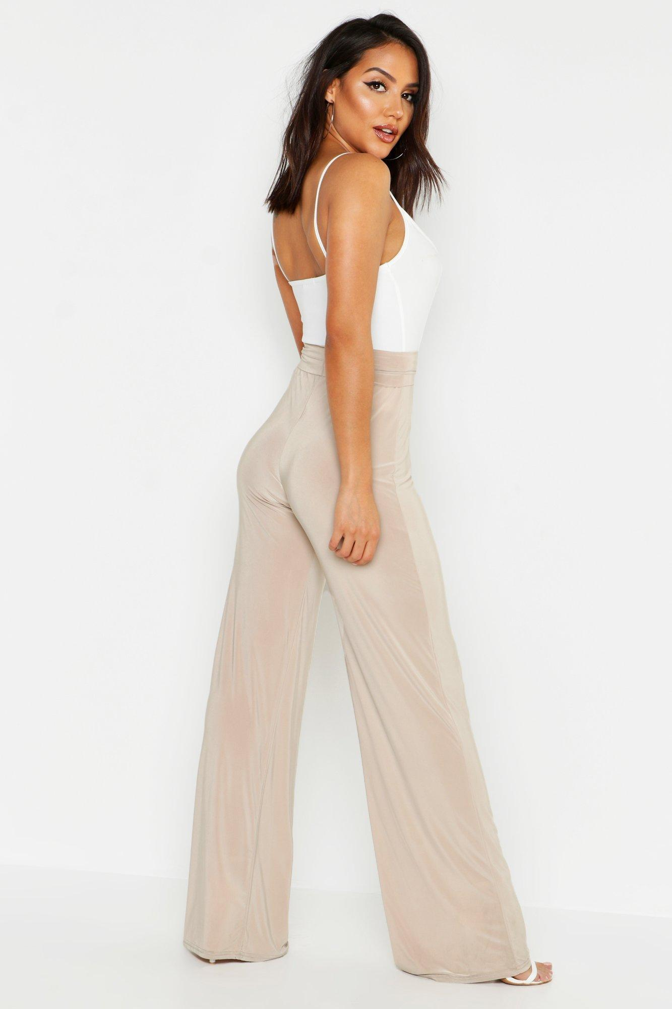 Wide Tall Slinky Leg Boohoo Beige Trousers Nm08wn