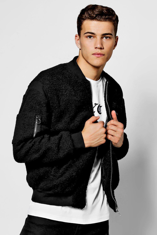 Boohoo Denim Borg Varsity Style Bomber Jacket in Black for Men