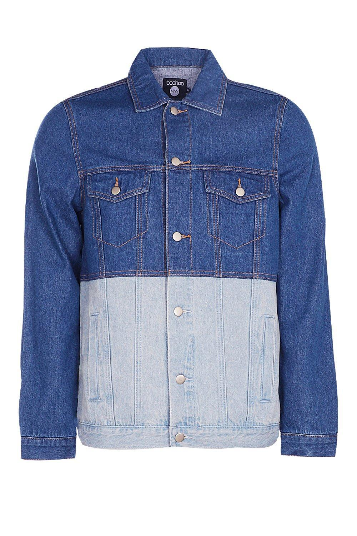 Boohoo Mid Blue Half & Half Denim Jacket for Men