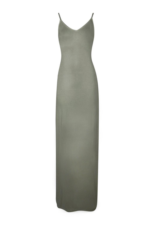 Boohoo Synthetic Tall Mei Lace Up Back V Neck Maxi Dress in Khaki (Grey)