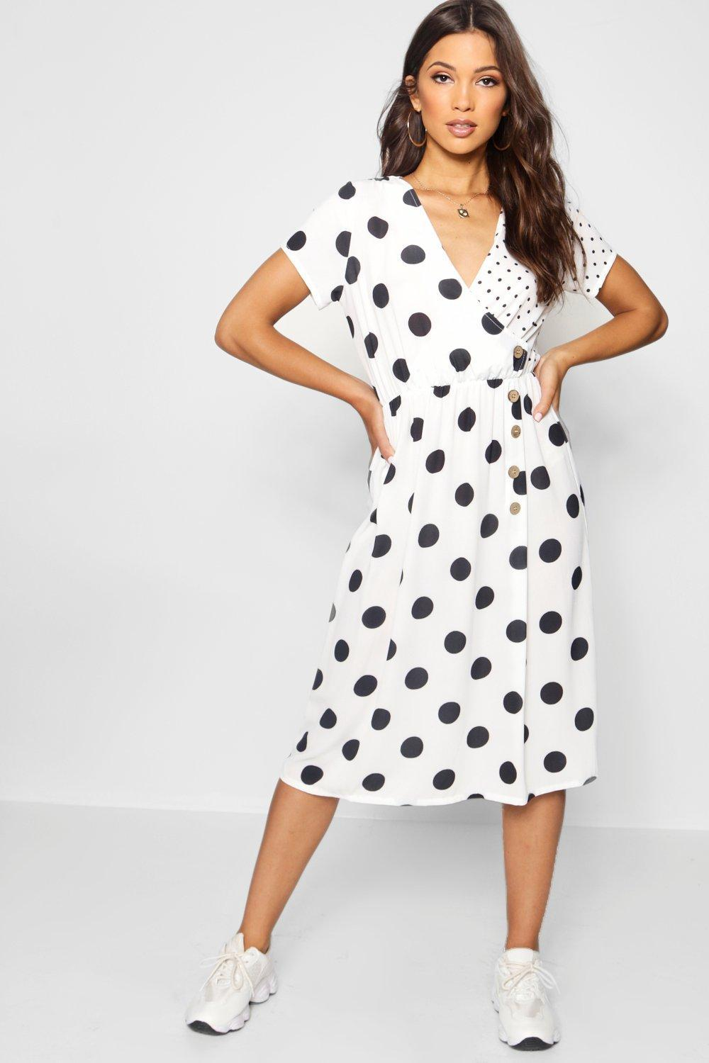 f98571268670 Boohoo Mixed Polka Dot Button Front Midi Dress in White - Lyst