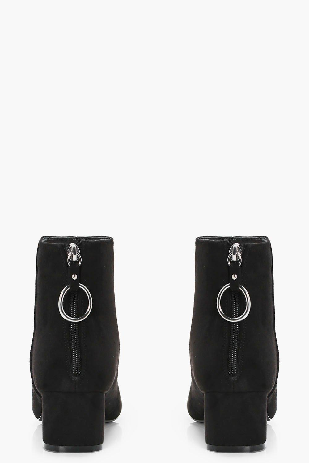 Boohoo Lizzy O Ring Pull Ankle Boot in Black