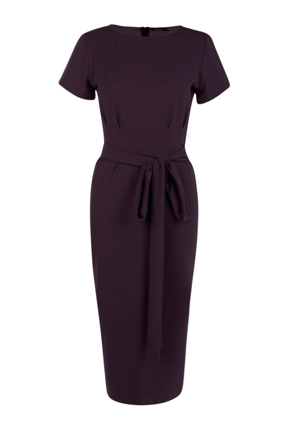 baef2115a6a8 ... Pleat Front Belted Tailored Midi Dress - Lyst. Visit Boohoo. Tap to  visit site
