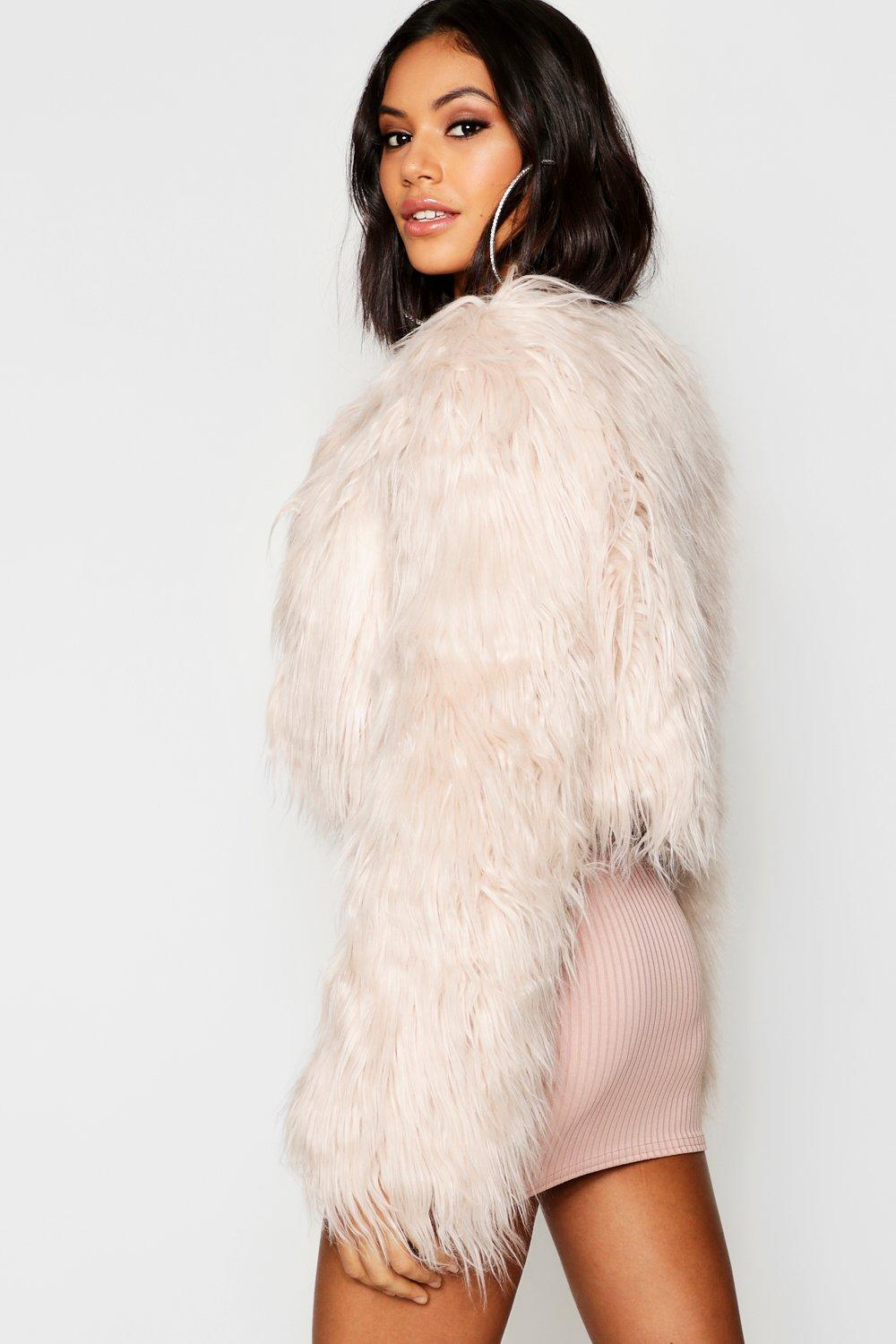 united states first rate utterly stylish Boohoo Crop Shaggy Faux Fur Coat in Natural - Lyst