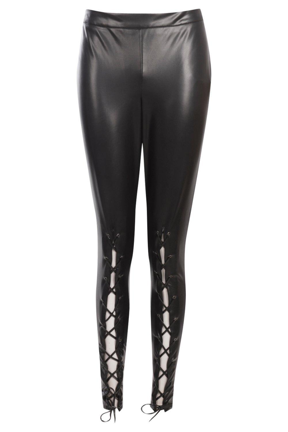 f0cd50ba0e3bb5 Lyst - Boohoo Premium Lace Up Front Leather Look Trousers in Black