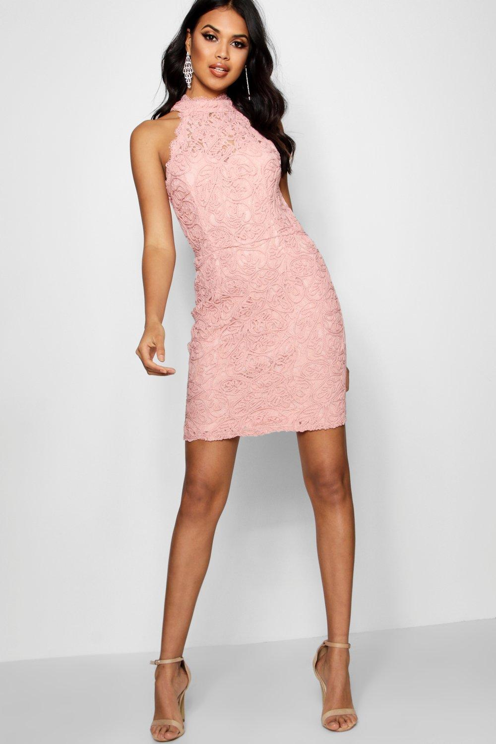 Boohoo Boutique Eyelash Lace Bodycon Dress in Pink - Lyst 29398c171