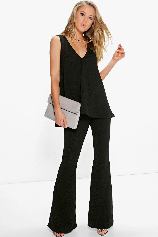 7b4ba64978129 Boohoo Swing Top & Flared Trousers Co-ord Set in Black - Lyst