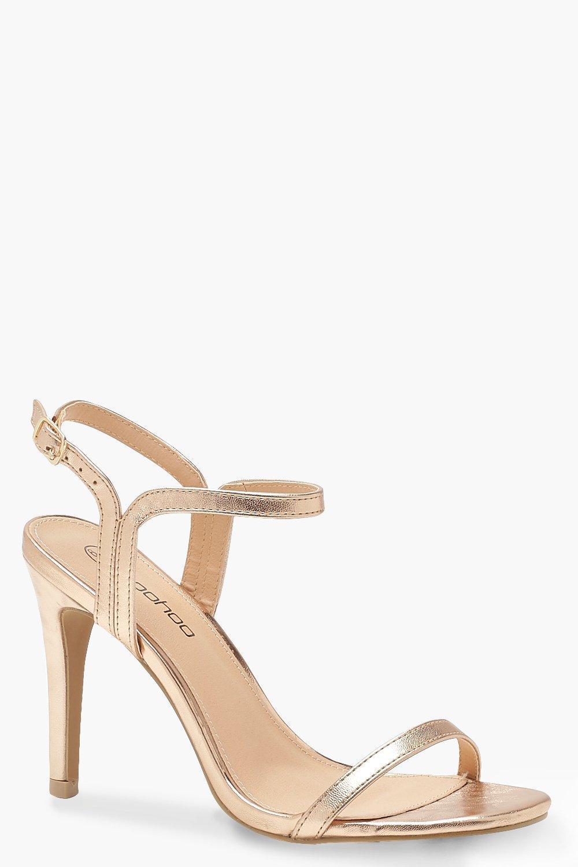 18713874e7707 Lyst - Boohoo Extra Wide Fit 2 Part Heels in Metallic
