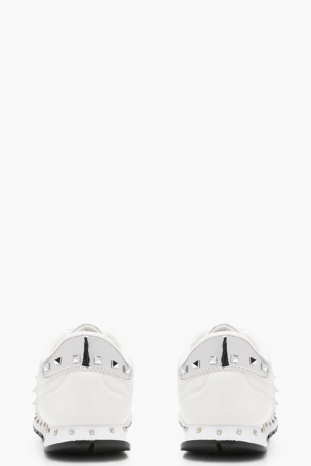 Boohoo Stud Lace Up Trainers in White