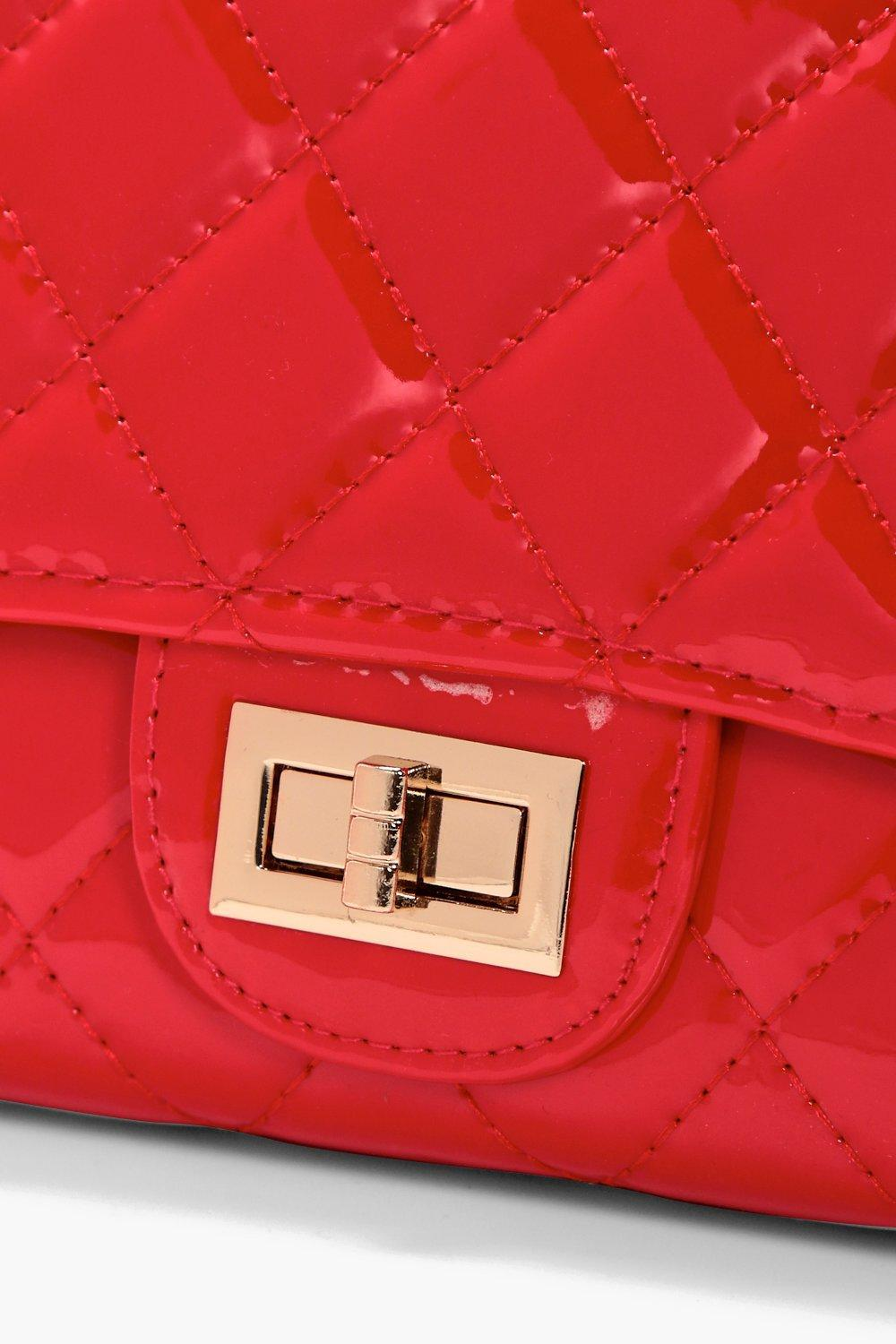 Boohoo Patent Quilted Cross Body Bag in Red