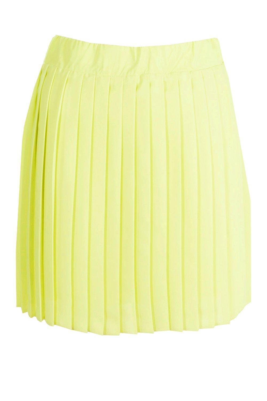 614eb7974 Boohoo Cate Chiffon Pleated Full Mini Skirt in Yellow - Lyst
