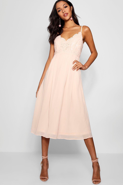 Lyst - Boohoo Crochet Lace Top Chiffon Midi Dress in Pink 22faec5a3
