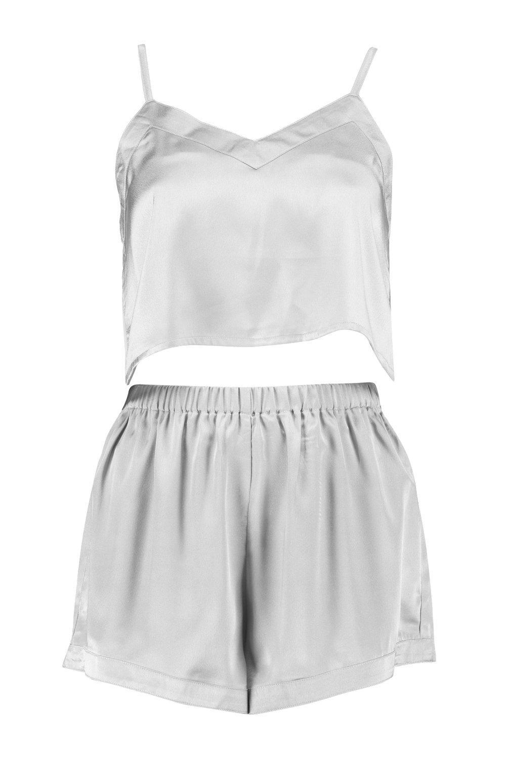 b8a72d4ee8 Lyst - Boohoo Satin Crop Vest And Shorts Night Set in Gray