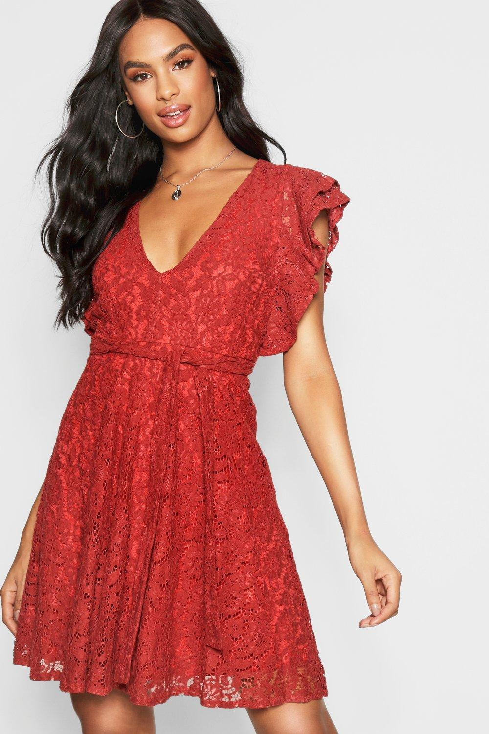 Boohoo Tall Ruffle Lace Skater Dress in Red - Lyst 80cc6cbc4