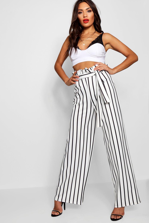 dab067c506e7 Lyst - Boohoo Stripe Paperbag Detail Waist Wide Leg Trouser in White