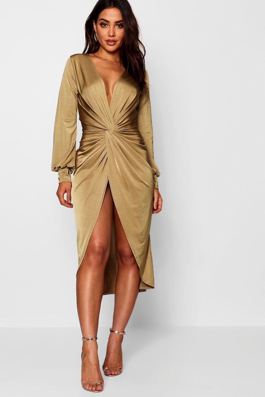 4f2e4126ee91 Boohoo. Women's Twist Front Plunge Slinky Midi Dress