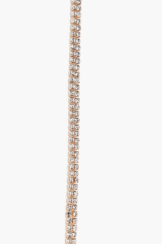 Boohoo Kya Plunge Double Track Diamante Necklace in Gold (Metallic)