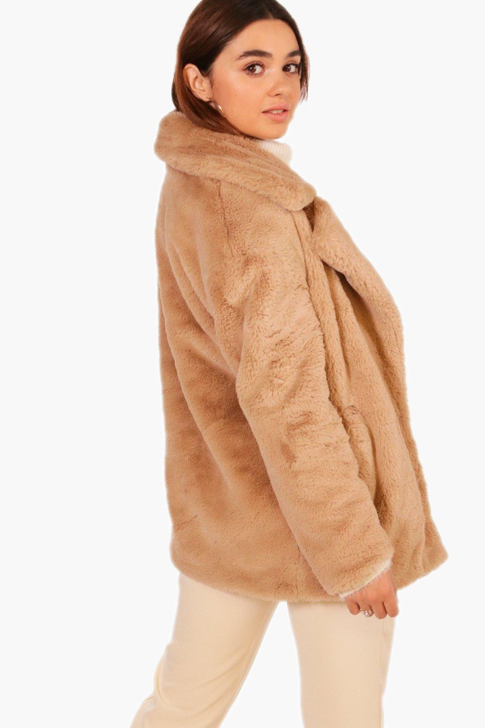 9b52a059172 Boohoo Petite Oversized Collar Luxe Faux Fur Coat in Natural - Lyst