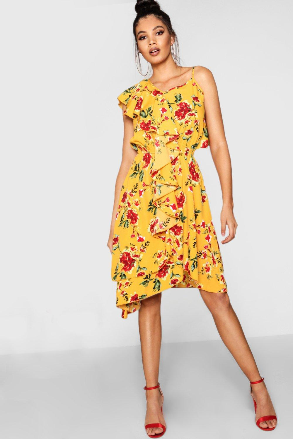 Boohoo Tall Ruffle Detail Woven Tea Dress Sneakernews Cheap Price Clearance Popular Latest Collections Cheap Price BpGJ0