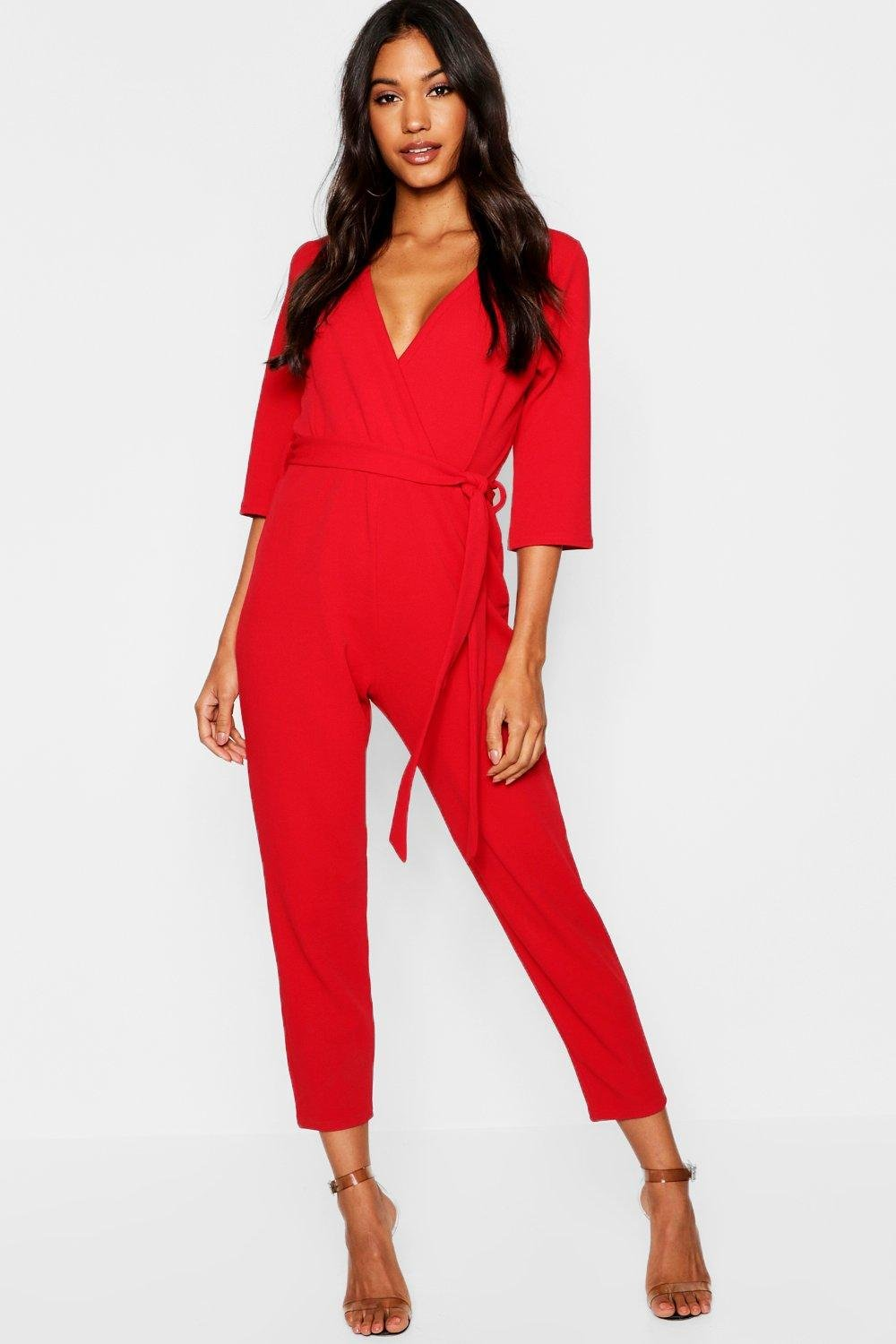 91313030fd4f Boohoo Wrap Jumpsuit in Red - Lyst