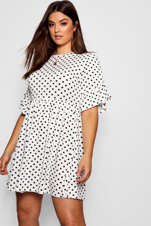 a9d722fb512c Lyst - Boohoo Plus Polka Dot Smock Dress in White