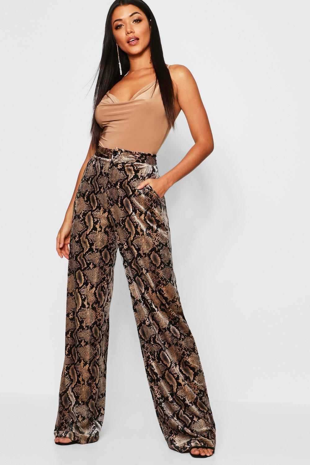 cd071fab843a Boohoo. Women's Brown Snake Print Velour Wide Leg Trousers