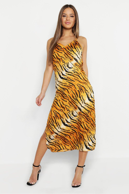 2551ae95f5e18 Boohoo. Women's Petite Tiger Print Satin Cowl Neck Cami Slip Dress