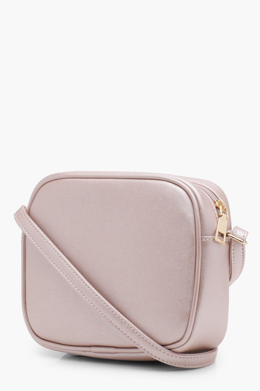 Boohoo Aimee Zip Around Cross Body Bag in Rose Gold (Pink)