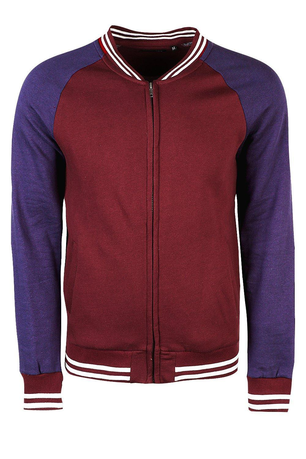 Boohoo Cotton Colour Block Jersey Bomber in Burgundy (Red) for Men