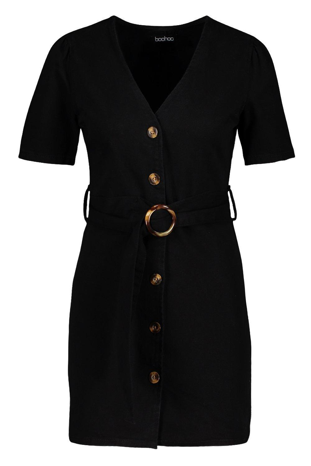 3e532ba2aba0 ... Mock Horn Button Belted Denim Dress - Lyst. View fullscreen