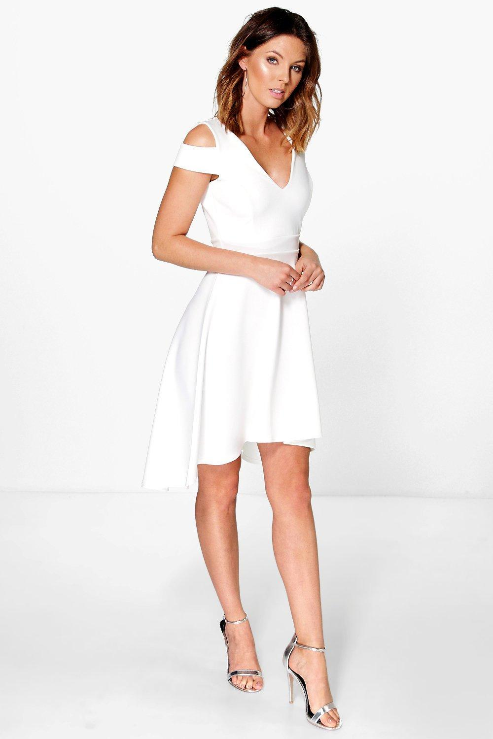 Lyst - Boohoo Bardot Plunge High Low Skater Dress in Natural b09ccd15a
