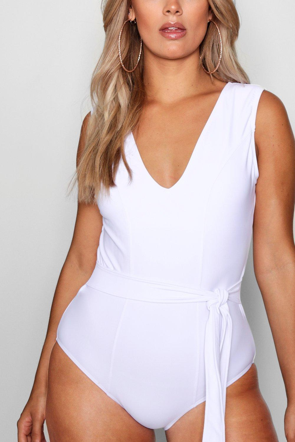 d24b4abf04 Boohoo - White Plus Tie Waist Plunge Front Swimsuit - Lyst. View fullscreen