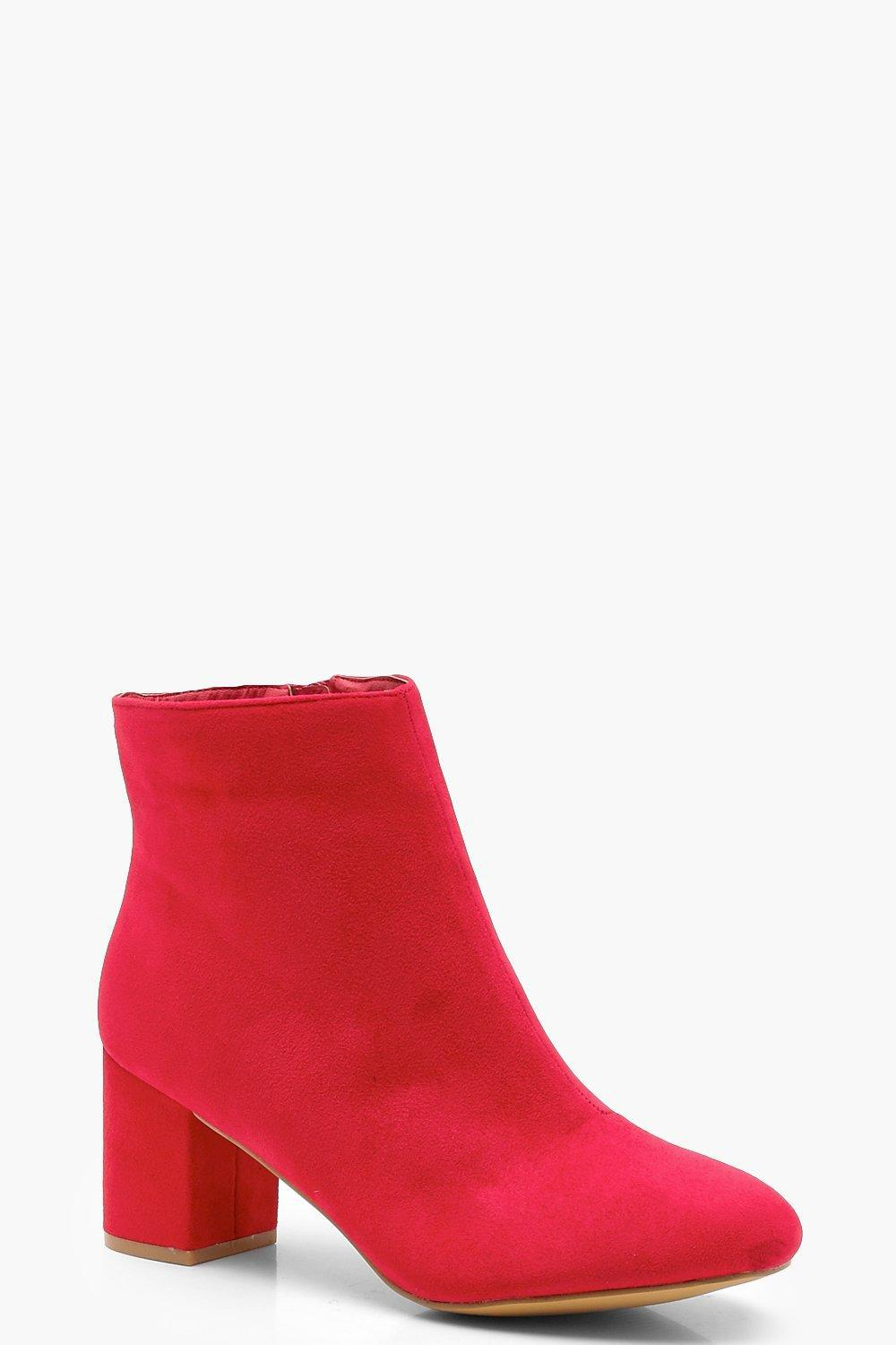 c9c781a3e995 Lyst - Boohoo Wide Fit Block Heel Shoe Boots in Red