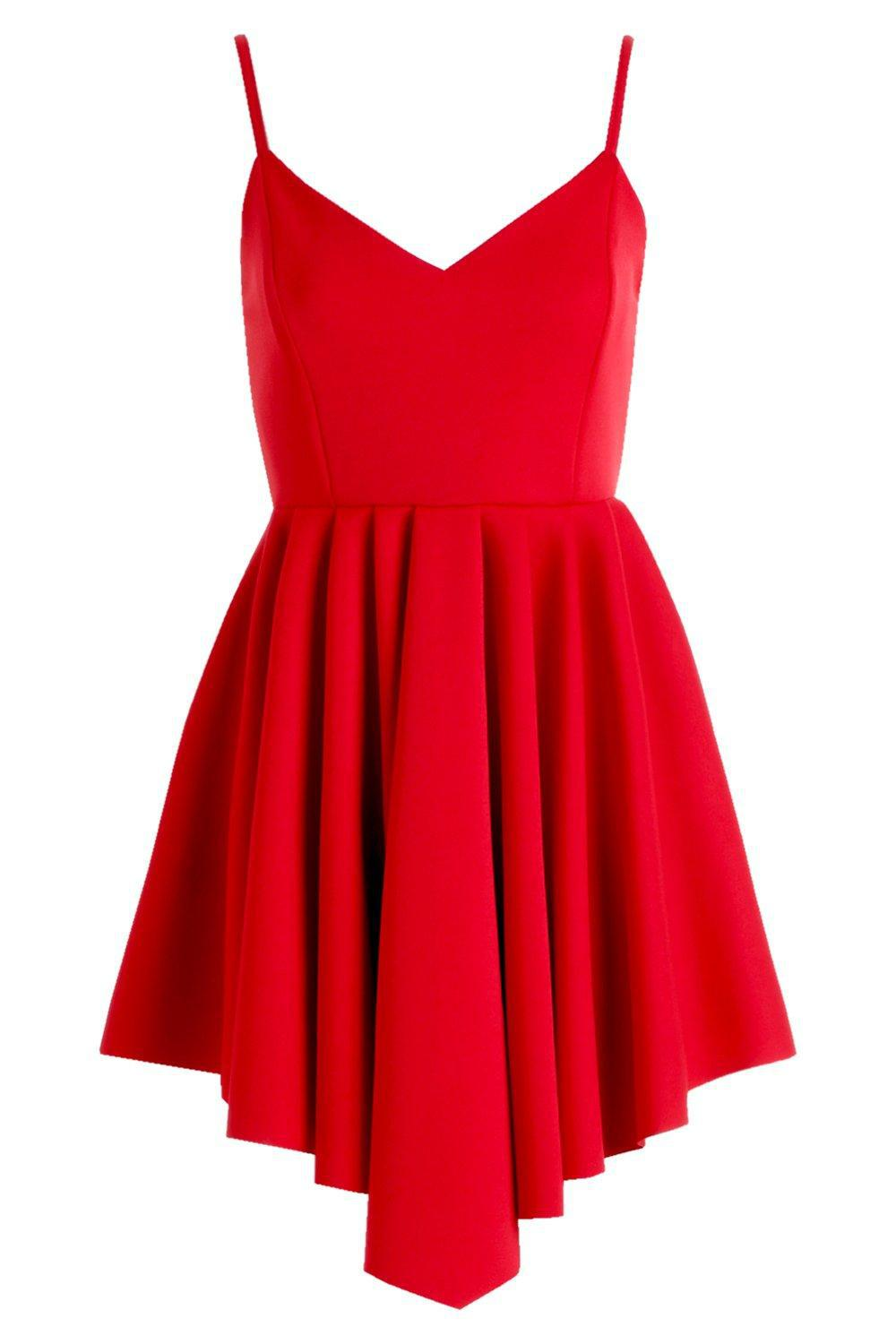 e120b271ce Boohoo - Red Scuba Strappy Pleated Skater Dress - Lyst. View fullscreen