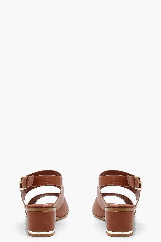 b0748b5b66eb Lyst - Boohoo Peeptoe Block Heel Sandals in Brown