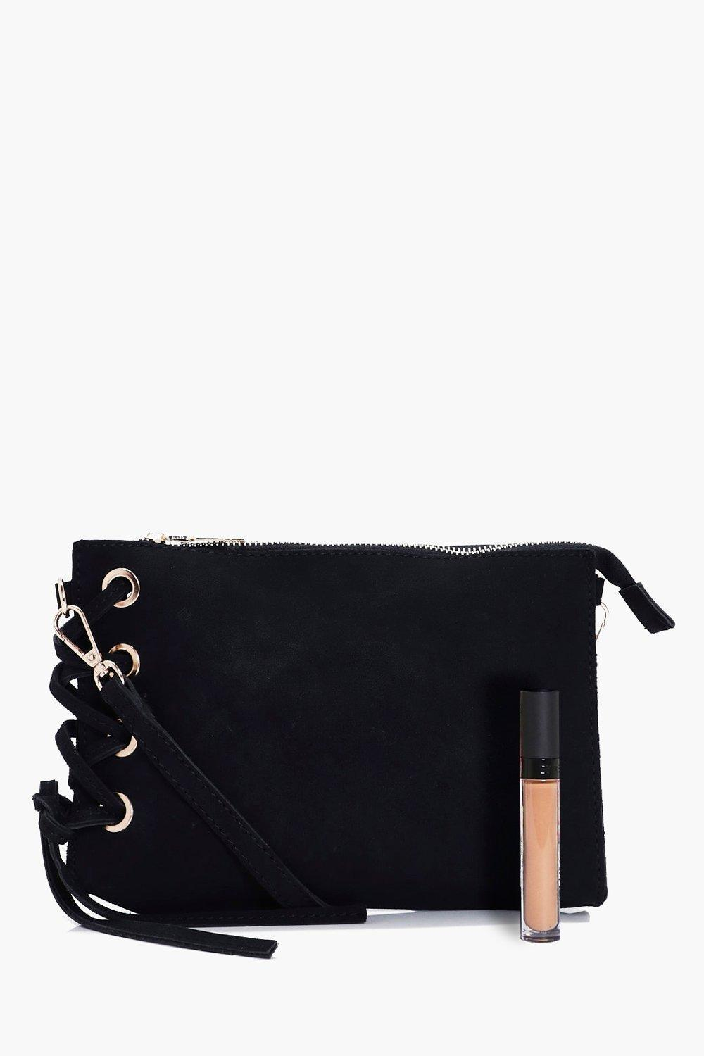 Boohoo Evie Corset Lace Up Cross Body in Black