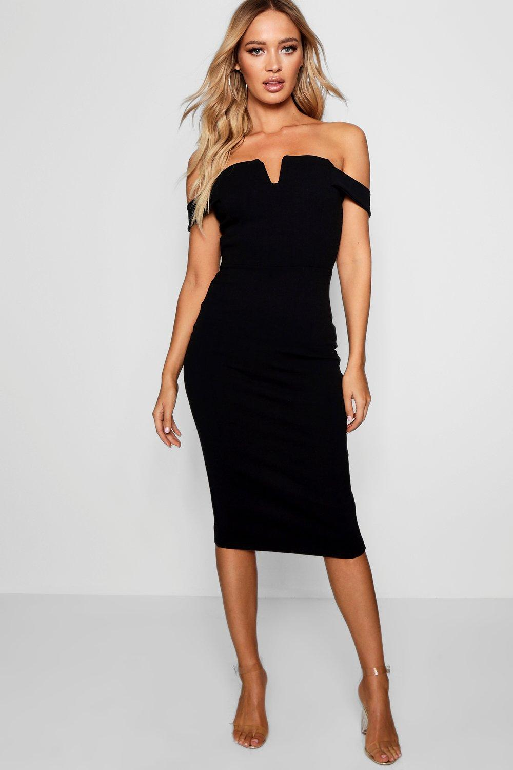 cc17e144e0a0 Boohoo Bardot Midi Bodycon Dress in Black - Lyst