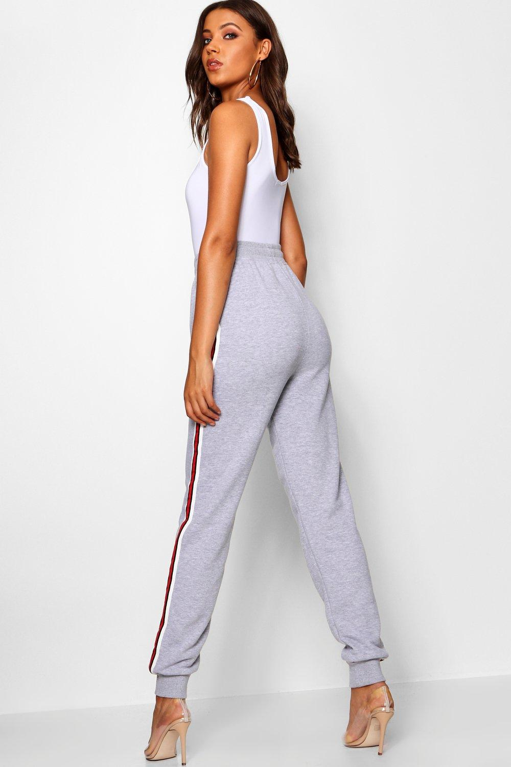 Boohoo Synthetic Tall Side Stripe Joggers in Black
