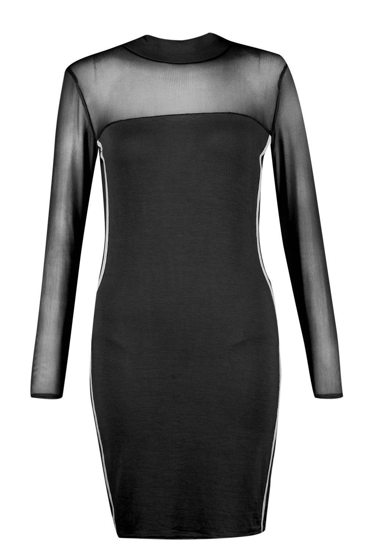 0593419ae37dd Boohoo Yasmina Mesh Sports Stripe Bodycon Dress in Black - Lyst