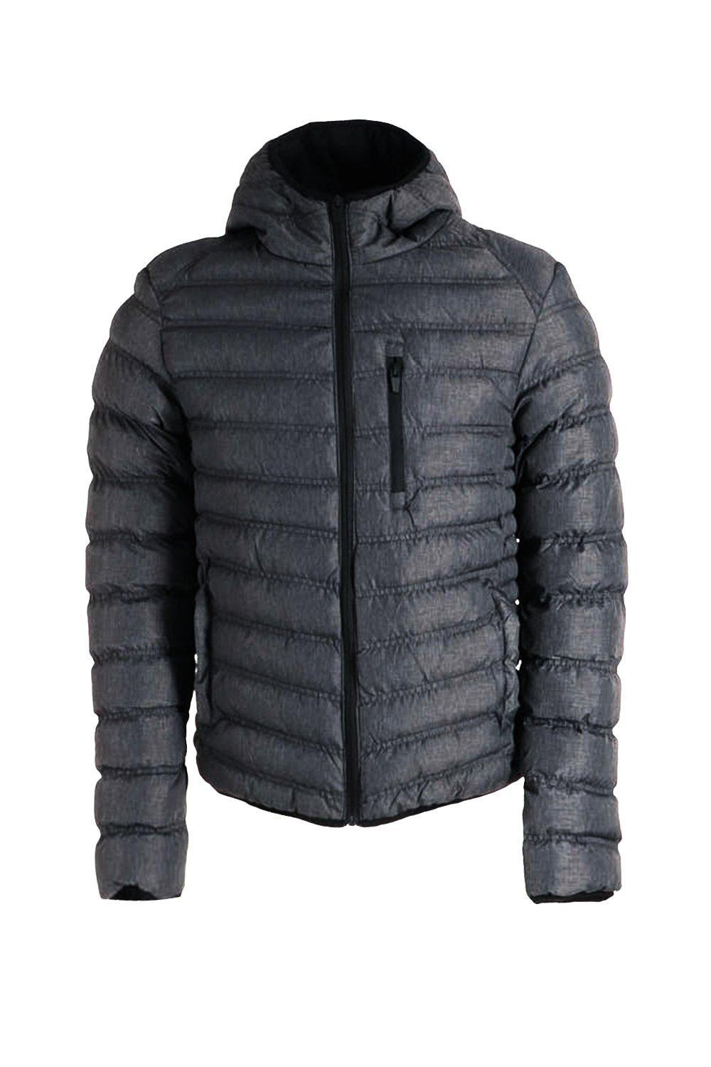 Boohoo Denim Hooded Puffer Jacket With Chest Pocket in Grey (Grey) for Men