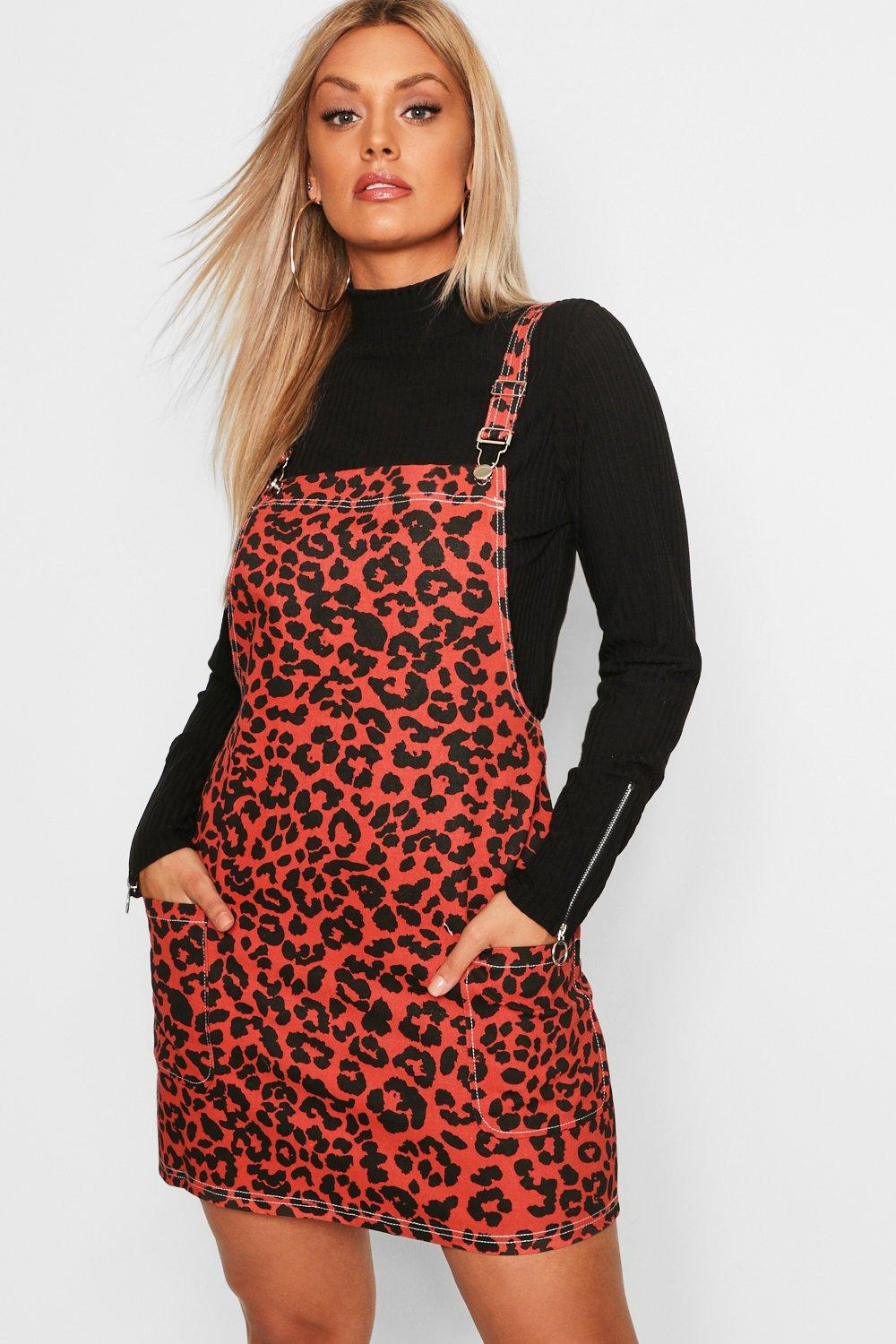 a67a6636a92 Boohoo Plus Leopard Print Dungaree Dress in Red - Lyst