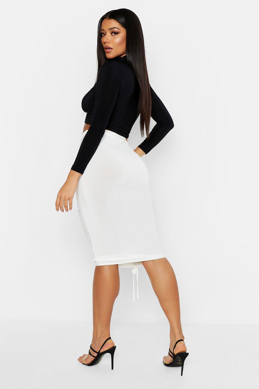 145ea5be1 Boohoo - Black Slinky Ruched Midi Skirt - Lyst. View fullscreen