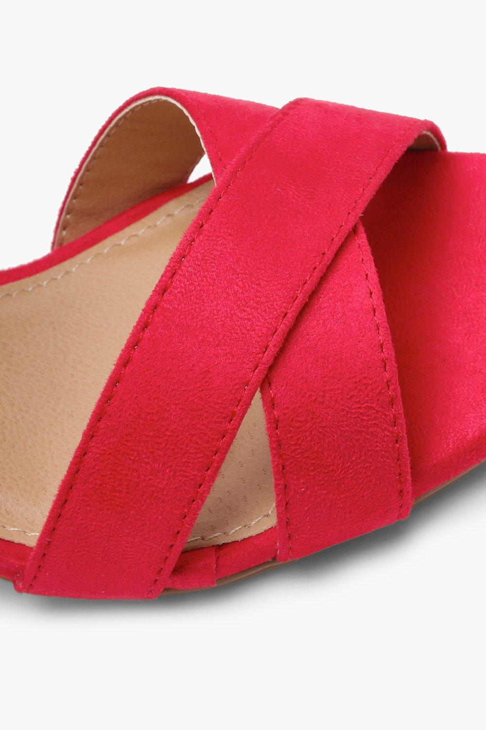 0d29b2d66146 Lyst - Boohoo Extra Wide Fit Cross Strap Ankle Block Heels in Red